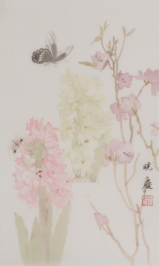 余晓庆,暗香,绢本设色,34x27cm,2018