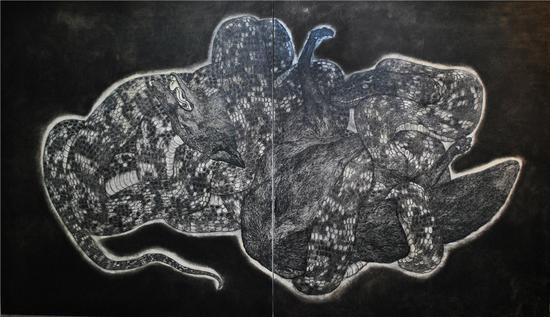 绞 200x150cm 布面水墨 2015年