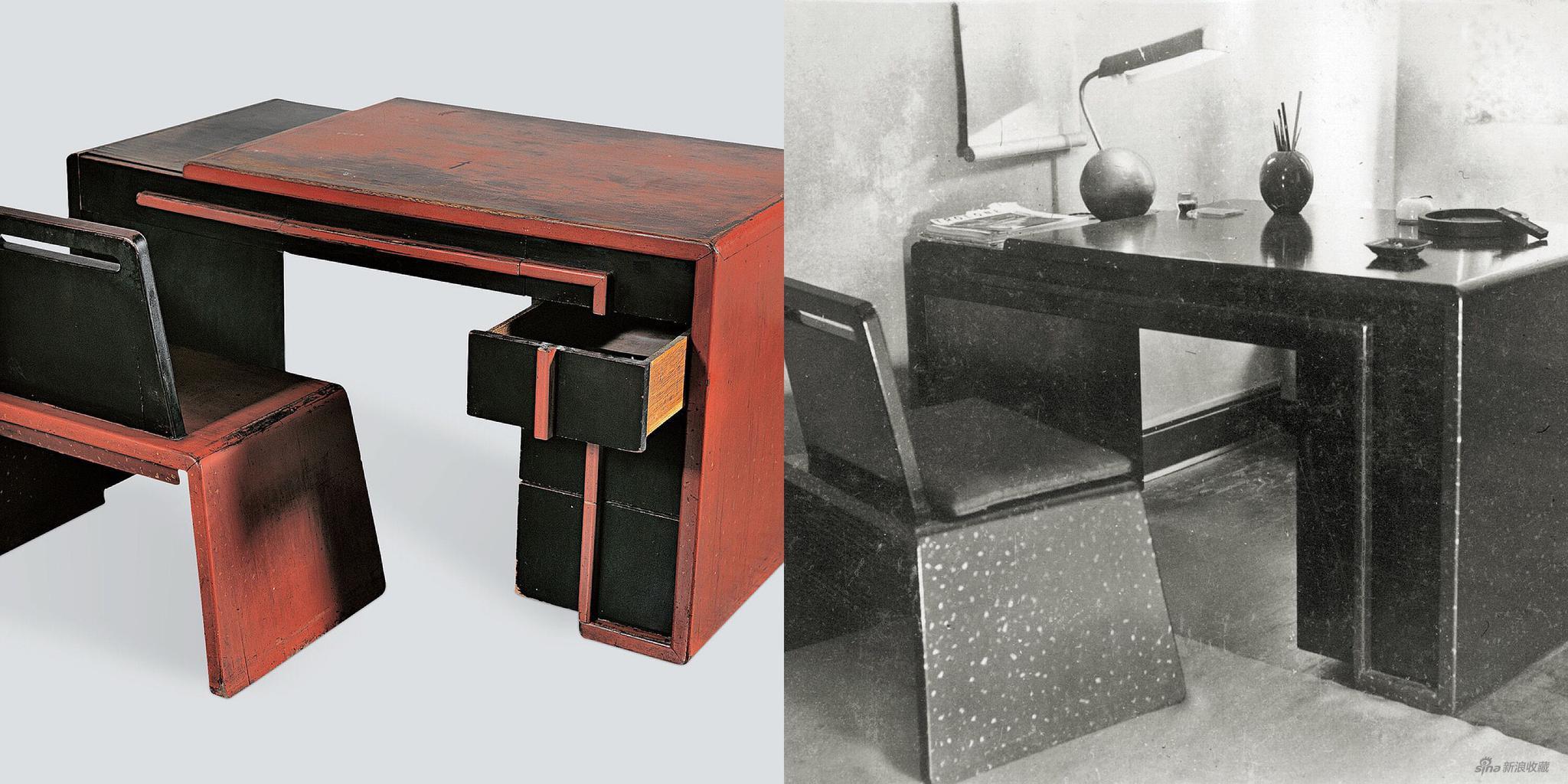 左:朱红洒金家具,约1930年,右:朱红洒金家具室内实景,《万象》 1934年