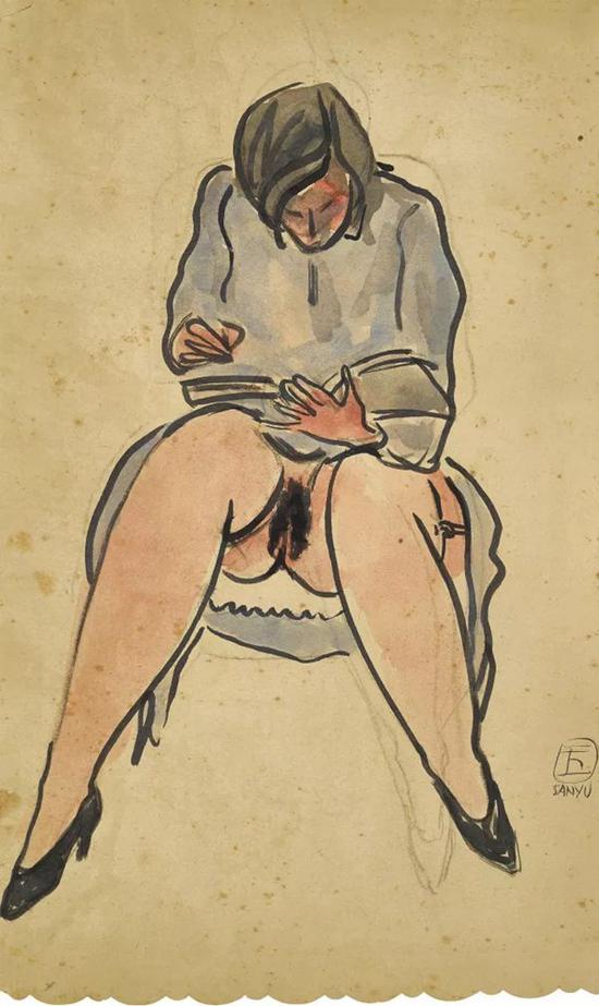 Lot。 620 常玉《阅读中的女士》 1928年 纸本水墨水彩 45×26.7 cm。
