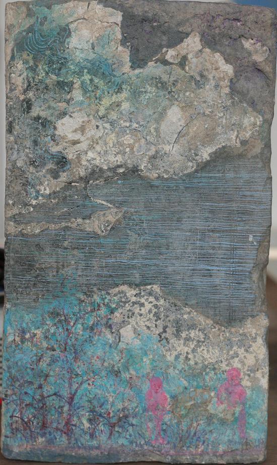 砖画-制造山水-02'尺寸30-18cm。材质。古砖丙烯,年代2016