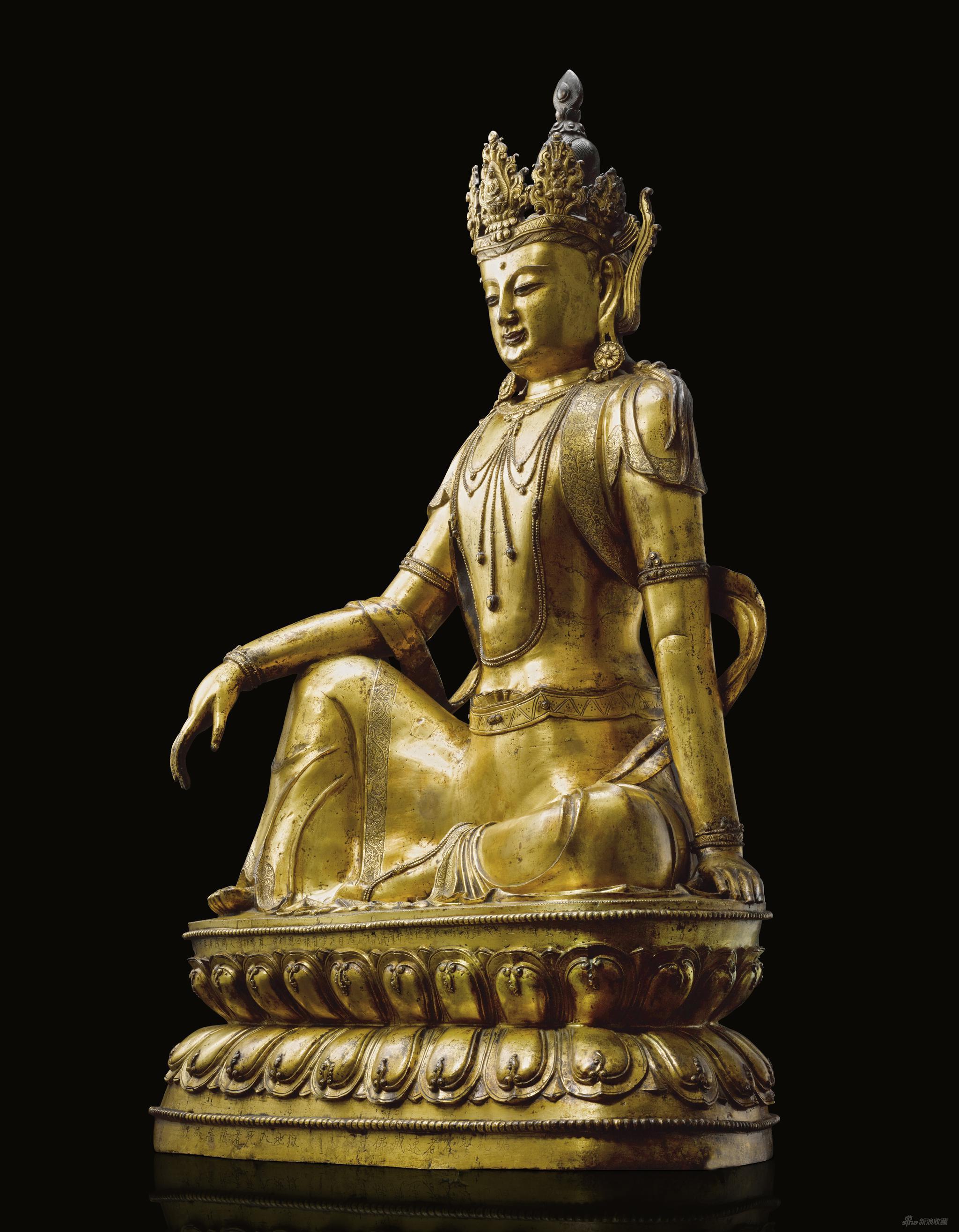 明宣德十年 铜鎏金南海水月观音坐像