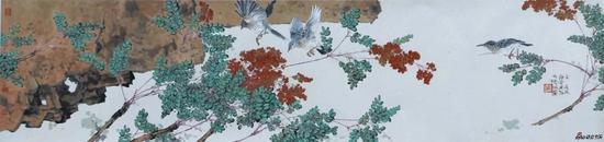 舞春风 设色纸本 34×136cm