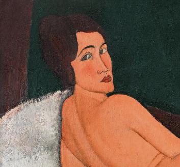 亚美迪欧·莫迪利亚尼《向左侧卧的裸女》局部