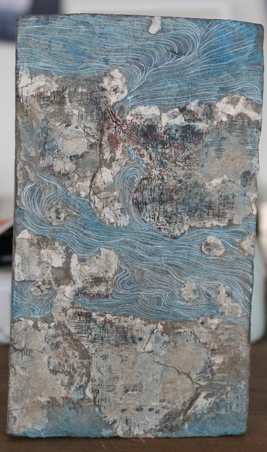 砖画-制造山水01尺寸30-18cm。材质;古砖丙烯。年代2016年
