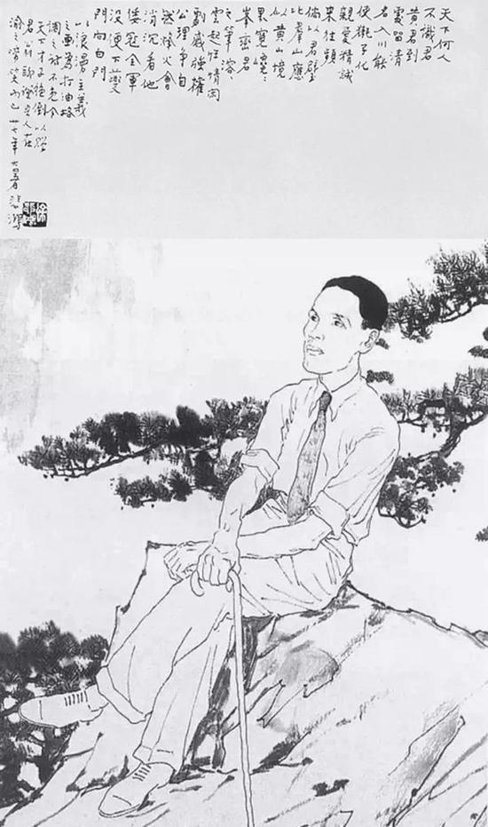 1938年徐悲鸿为黄君璧绘制画像