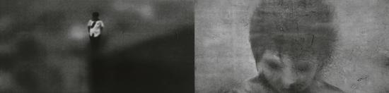 蔡广斌《热点·2010A》水墨、影像 120×246cm×2 2017