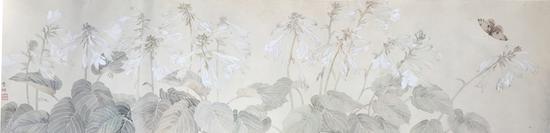 李明,玉簪报秋,纸本设色,33x133cm,2018
