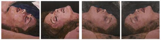 李青,《互毁而同一的像·爱201601》,照片90×90cm×2+油画90×90cm×2,2016