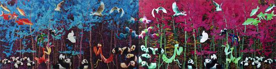 森林之谜整版600X150cm布面油画刘力国2015
