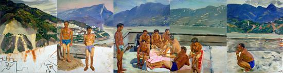 刘小东《温床(之一)》,布面油画,260x1000cm,2000-2006??泰康收藏TAIKANG COLLECTION