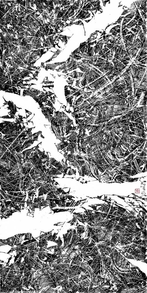 汪京元 无色界F-81-7 纸本水墨137×68cm 2018