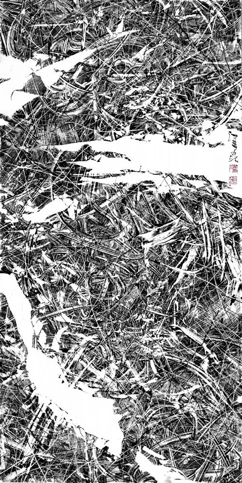 汪京元 无色界F-81-14 纸本水墨 137×68cm 2018