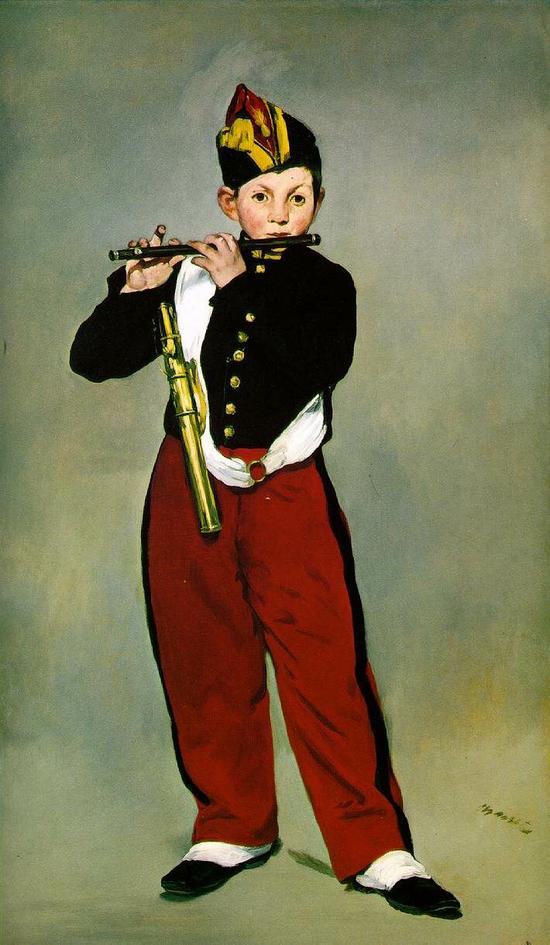 《吹长笛的男孩(Young Flautist)》(1866)马奈