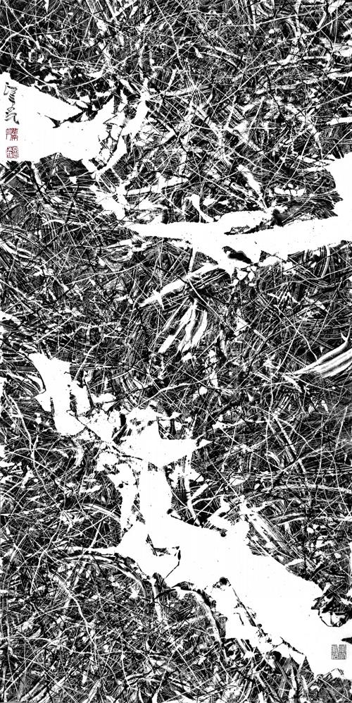 汪京元 无色界F-81-5 纸本水墨137×68cm 2018