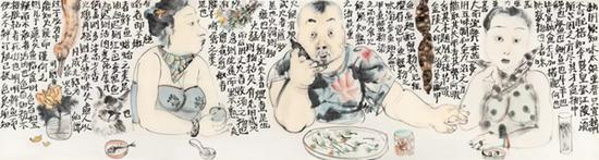 Lot.608 李津 《饮食男女之五》 纸本彩墨 53×198.4cm。