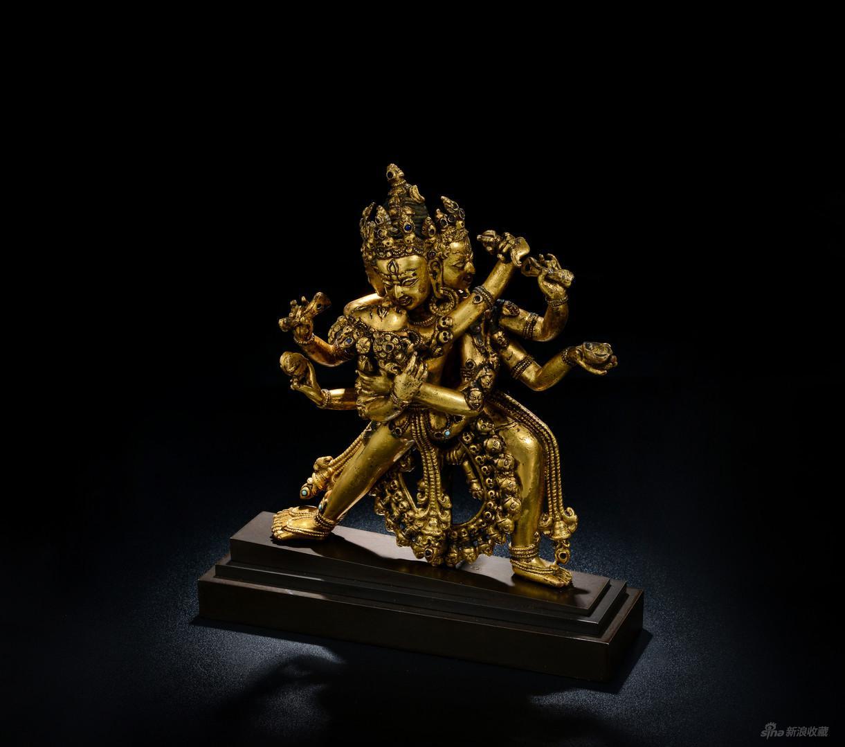 《胜乐金刚》,红铜鎏金,来自小嘴文化