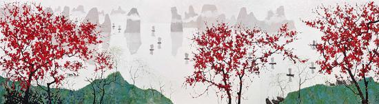 龎均,一江春水千帆过,2018,200x750cm