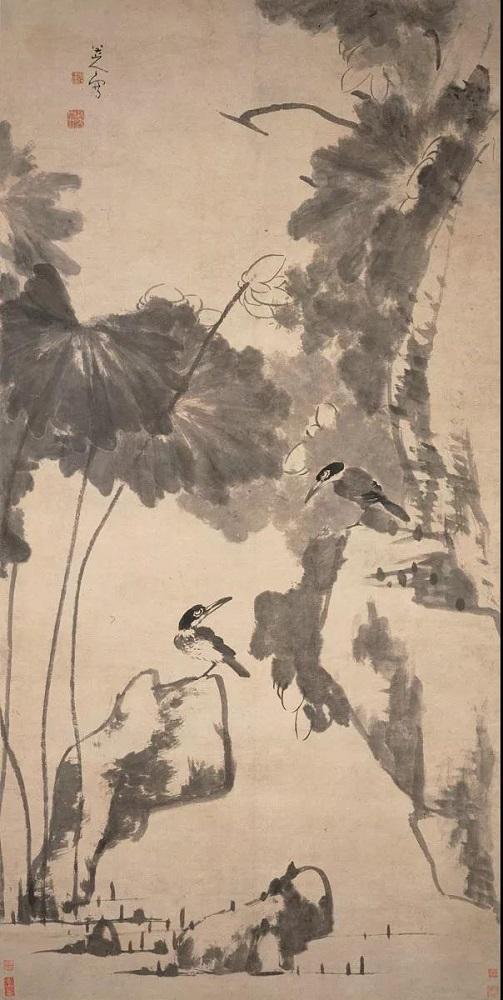 清 朱耷 《荷花翠鸟图轴 》 上海博物馆提供
