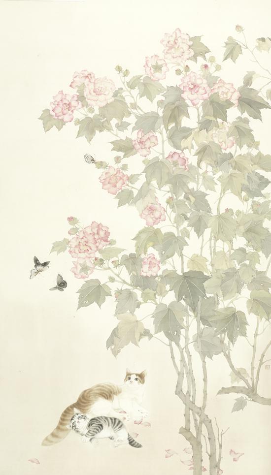 韩雪,秘密花园,绢本设色,200x116cm,2016(全国美展入选作品)