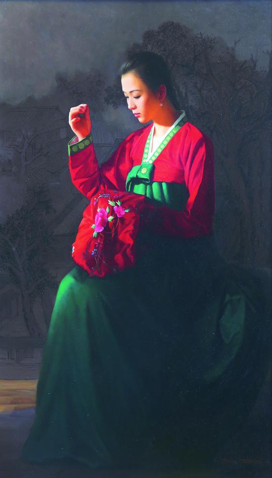 《牡丹红》 张元吉(朝鲜) 布面油画 2017年作 117×120cm