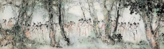杨善深 丽人行   镜片 设色纸本   1987年作   246×75 cm