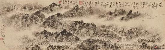 毛主席诗意图 水墨纸本手卷 14×46cm