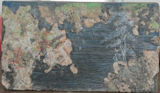 砖画-制造山水-06,尺寸18-30cm,材质。古砖丙烯,年代2016