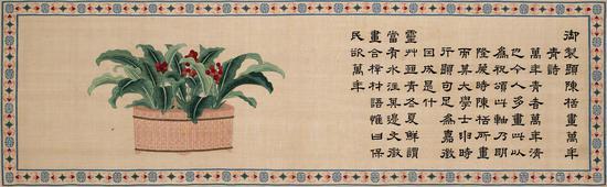 清乾隆缂丝 御制题陈栝画万年青诗并图卷   手卷 39.5×129cm