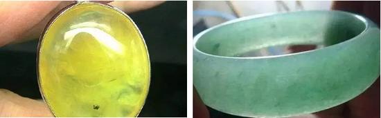 葡萄石内部的包裹体(左)和翡翠中的纤维结构(右)
