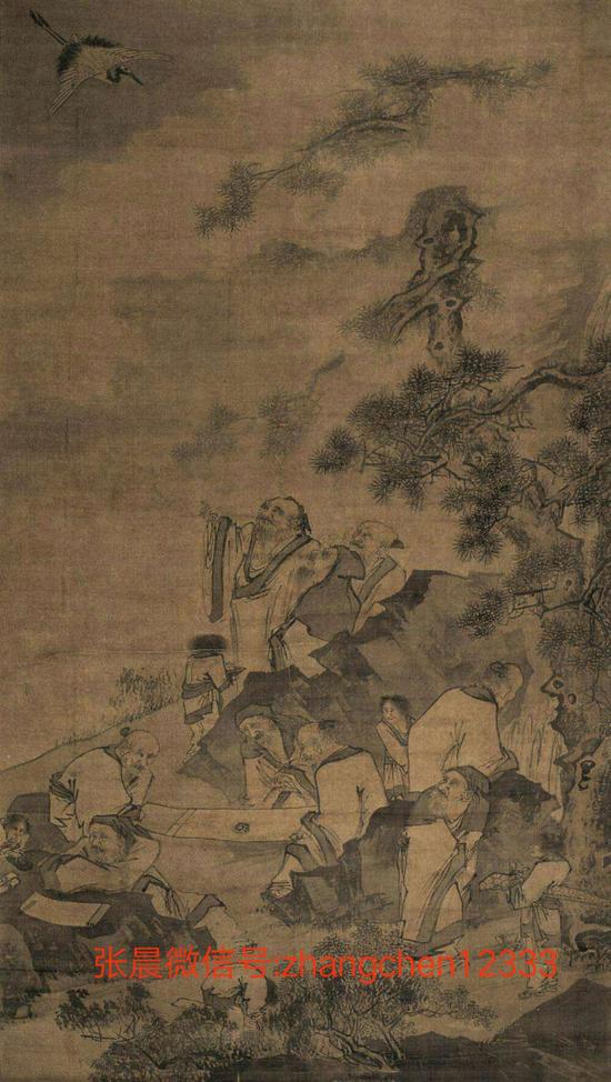 (此图有香山九老其中几个正直欣赏画作,其中有三个老人点着降真香,品着茶,突然惊奇抬头看到仙鹤降落)