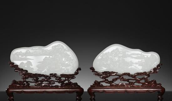 苏然 和田玉籽料中华祥瑞图插牌   33.5×17.0×2.4cm 2308g   32×14.5×1.8cm 1725g