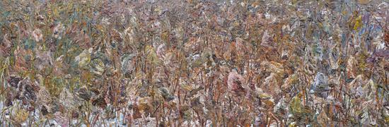 《残荷》四联画 Withered Broken Lotus Series 2017年11月-2018年1月200cmX600cm布面丙烯 Acrylic on canvas(其中一幅作品入选2018年第111届法国秋季艺术沙龙展)