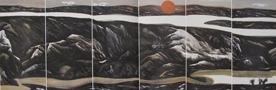 5。董继宁《长河落日圆》中国画 136cm×408cm 1991年