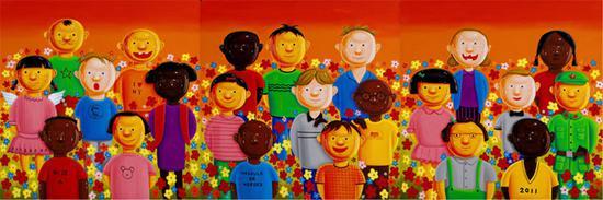 和谐四号--世界儿童 200×200cm×3 2011 布面油画