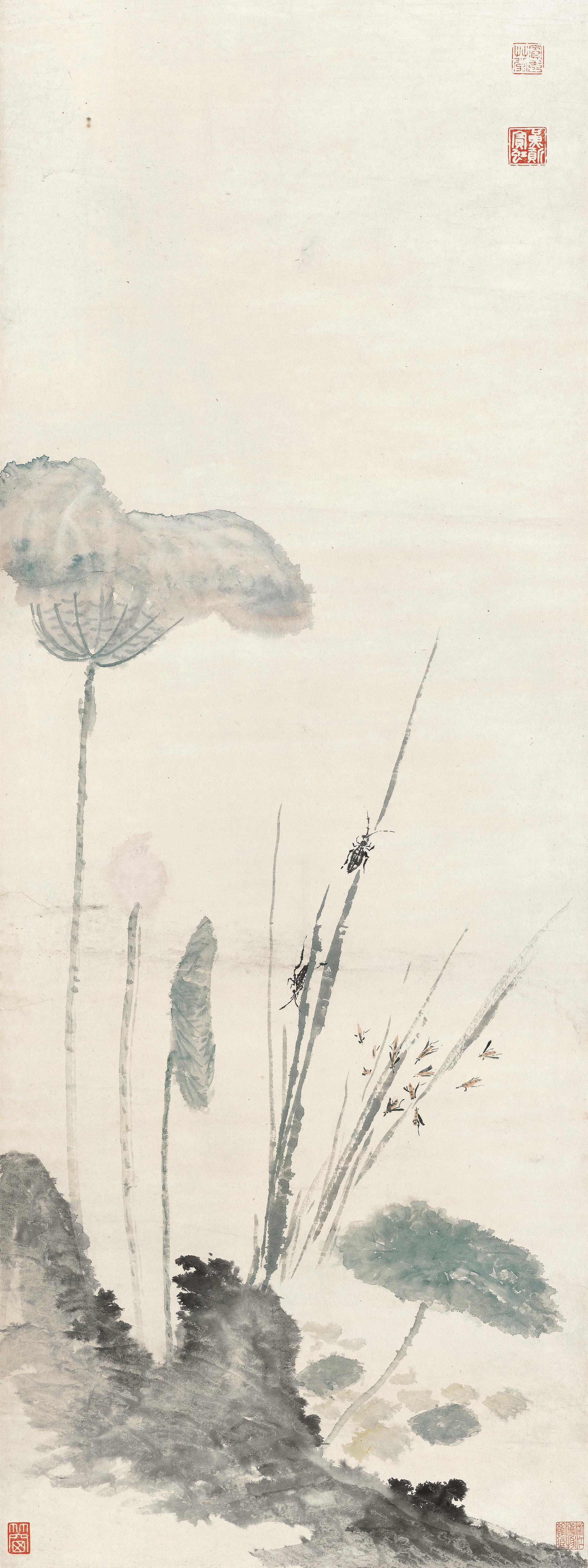 荷塘秋趣 黄宾虹 106.6cm×39.9cm 无年款 纸本设色 浙江省博物馆藏