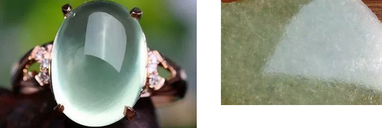 葡萄石底部的白色条纹(左)和翡翠表面的桔皮效应(右)