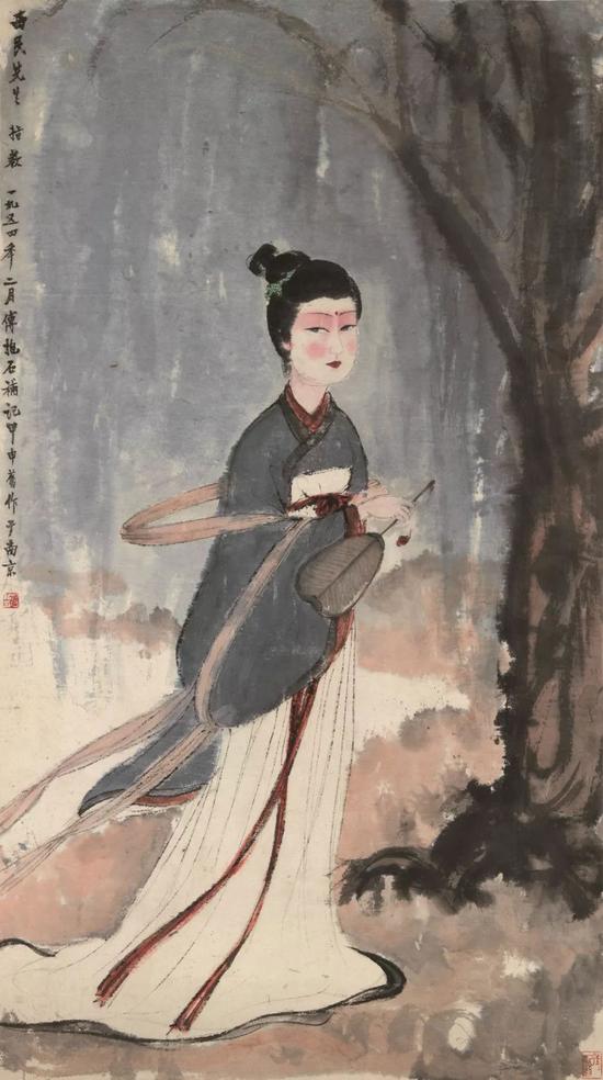 傅抱石 游春设色纸本 立轴114×58 cm