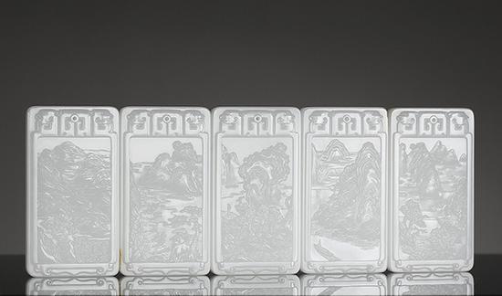 苏然和田玉籽料诗意山水套牌   8.0×4.4×1.0cm 95g 、8.0×4.4×1.0cm 94g   8.0×4.4×1.0cm 96g、8.0×4.4×1.0cm 97g   8.0×4.4×1.0cm 97g