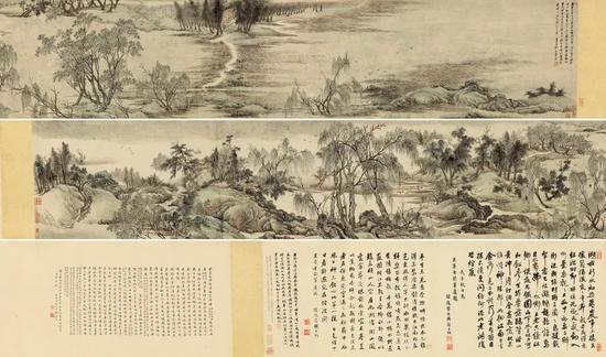 王翚 江南春设色纸本 手卷 画:45×439.5 cm 跋:45×220 cm