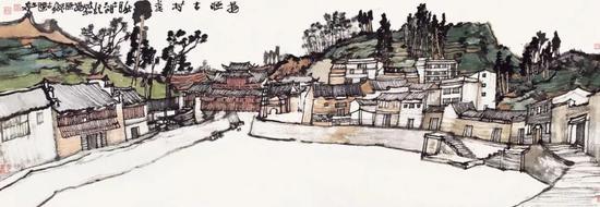 杨玉泉 政和杨源古村 45×130cm 纸本设色 2018