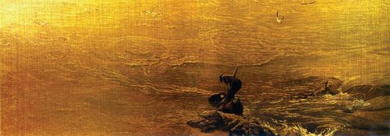 19。崔炳良《长江水》布面油画160cm×360cm1983年 中国美术馆藏