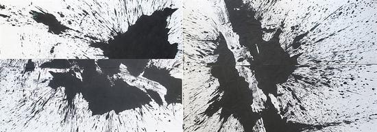 洪耀  水墨弹性(局部)   纸本水墨  200×1450cm   2008年