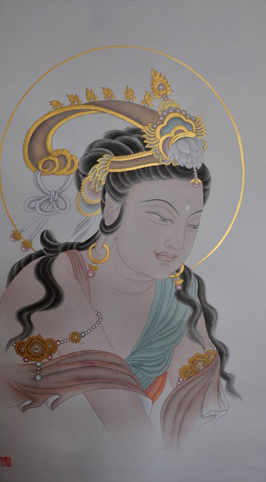 姜雪雁 观自在 纸本设色 130 x 65 cm 2018