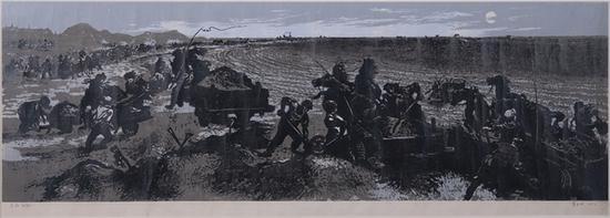 23。蓝玉田《月夜运肥》版画34cm×101cm 1958年 湖北美术馆藏