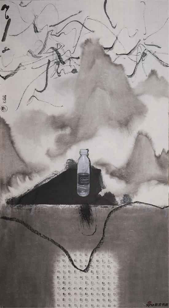 《弯曲的风景之二》,水墨综合,75cmX139cm,2018,张正民