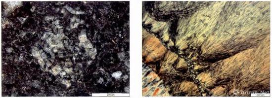 ▲ 左图为样品的显微结构图,右图为玛瑙的显微结构图,可以看出二者有相似之处
