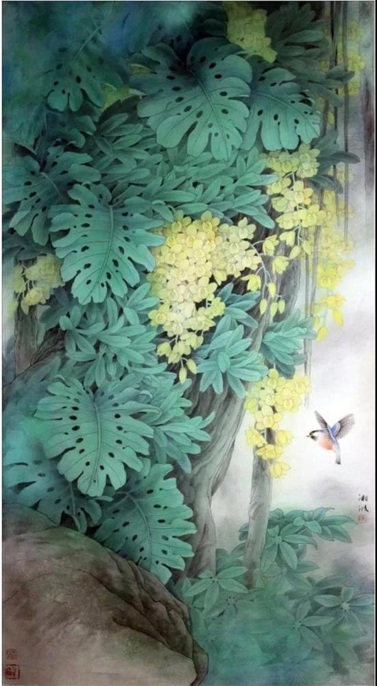 作品名称:《春风拂羽》   作品尺寸:176x96 cm   材质:纸本设色