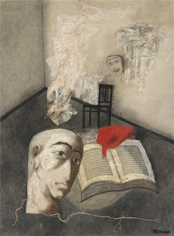 张晓刚 Zhang Xiaogang 《深渊集系列》 Abysm Series 布面油画 Oil on canvas, 53 × 39 cm,1990 ©艺术家和灿艺术中心