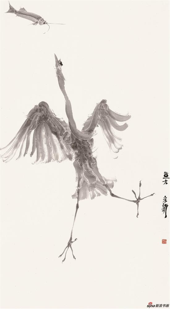 周京新《鱼-鹭系列2》153x84cm.2016